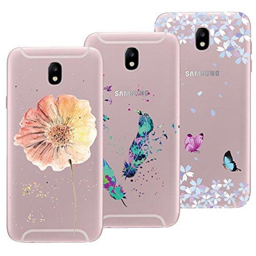 Yokata [3 Packs] Kompatibel mit Hülle Samsung Galaxy J3 2017 Silikon Transparent Durchsichtig Handyhülle Schutzhülle TPU Ultra Dünn Slim Kratzfest mit Motiv Case Cover - Blume + Feder + Schmetterling