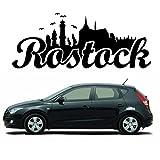 """Wandtattoo Loft Autoaufkleber """"Rostock Skyline"""" mit Schriftzug / 54 Farben zur Auswahl / schwarz / - 4"""