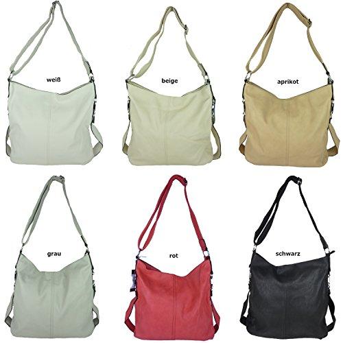 MAHEL A9050-3A 'Mima' große Damen Tasche, Umhängetasche in versch. Farben mit langen Trageriemen, 40x35x23 cm weiß
