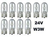 (78-0062) - 24 Volt - 10 Stück - W 3W - T10 - W2,1x9,5d - 3Watt - Nfz LKW Beleuchtung - Glühlampe, Glassockellampe, Glühbirne, Soffitte, Lampen. Mit E-Prüfzeichen und ist für den Straßenverkehr zugelassen. INION®