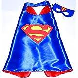 Superman Superhelden-Kostüme für Kinder - Cape und Maske - mit Spiderman, Frozen Elsa, Batman, Superman -Logo - Spielsachen für Jungen und Mädchen - Kostüm für Kinder von 3 bis 10 Jahre - für Karneval, Fasching oder Motto-Partys! - King Mungo - KMSC008