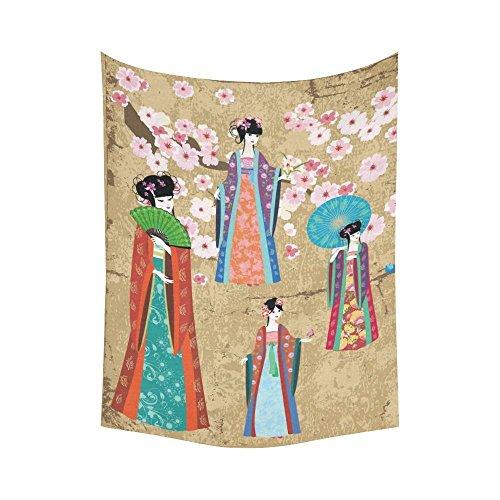 interestprint asiatischen Art Wand Home Decor, Mädchen in Retro Kostüm Wandteppich für Art Sets 152,4x 228,6cm, Baumwoll-Leinen, multi 1, 60 X 80 (Kostüme Blossom Cherry)