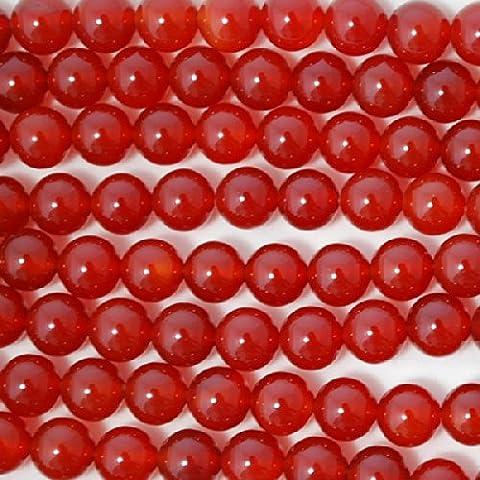 High Quality Grade A Natural Carnelian Red Agate Semi-precious Gemstone Round Beads - 16