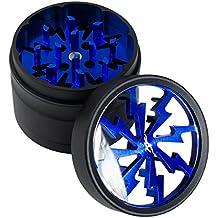 Thorinder Grinder de 50 mm y tamaño mini para hierba, 4 piezas, color azul, hecho de aluminio con filtro para polen y espátula