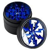 Thorinder - Mini macinaerbe in alluminio, con raccogli resina e setaccio, colore: blu
