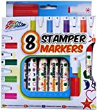 Large Stamper Fun Markers - Pack of 8 Different Shapes and Colours - by Grafix