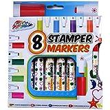 Bolígrafos Estampador de los Niños - Pack de 8 Diferentes Formas y Colores - por Grafix