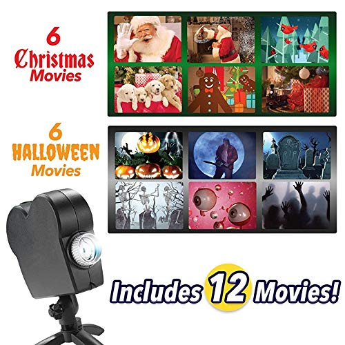 H&L Christmas Halloween Wand Fenster Projektion Lichter Film LED Garten Video-Player