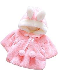 QUICKLYLY Bebé Chicas Infantil Otoño Invierno Capucha Capa Capa Chaqueta Grueso Caliente Ropa( 0 ~ 24 Meses)