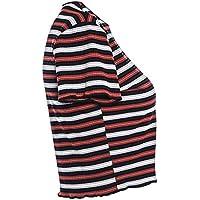 Lorjoy Muchachas de Las Mujeres de la Raya tee Top Verano Mujer Camiseta de algodón Blusa de Cuello