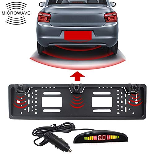 XKC-Parking Asistencias de estacionamiento Partes, PZ300L-W Inalámbrico Europa Car Matrícula Marco Sensores de estacionamiento Radar de Marcha atrás con 3 detectores de Radar