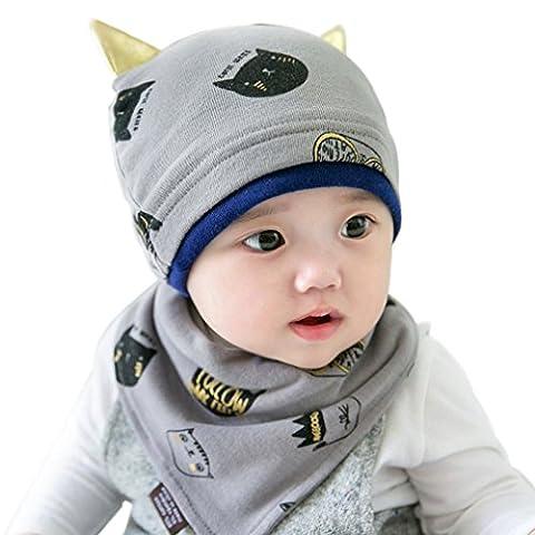 rnow New Born Baby Ensemble écharpe et bonnet pour bébé hip-hop chat oreille Bernat Kit (Rib Cap)