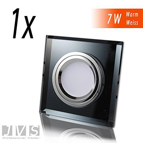 1x CRISTAL BLACK Q 230V LED SMD 7W Warmweiss Decken Einbaustrahler Einbauspots Deckenspots (Schwarz-Spiegel) inkl. GU10 Fassung mit 15cm Anschlusskabel
