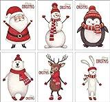 12 cartoline natalizie, set con 6 motivi, DIN A6, esclusivo porcellanato pregiato, set di cartoline, biglietti di auguri di Natale.
