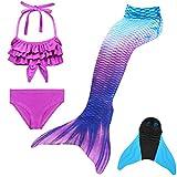 GNFUN Mädchen Meerjungfrauenschwanz Zum Schwimmen mit Meerjungfrau Flosse- Prinzessin Cosplay Bademode für das Schwimmen mit Bikini Set und Monoflosse, 4 Stück Set, Blau Lila, 120-130cm