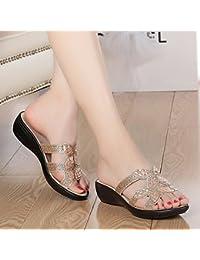 Qingchunhuangtang@ Sabbia Pantofole Indossare Tacchi Alti E Raffreddare Le Pantofole,Quaranta,Beige