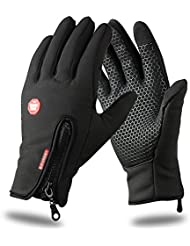 Mothca Touch Screen Gloves, Mothca New Fashion Mens and Womens Mutli-Purpose Outdoor Sport Winter Warm Windproof Waterproof Thermal Leisure Skiing Cycling Camping Driving Unisex Non-slip Full Finger Gloves for Smart Phone Touchscreen(Black,L)