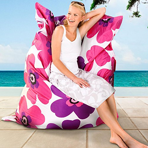 Smoothy OUTDOOR/INDOOR Sitzsack Floralia PINK-LILA High-Tec Nylon 180 cm x 140 cm - wetterfest - Made in Germany - 30 Jahre Garantie