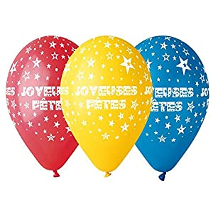 Gemar ba19875bolsa de 50globos Joyeuses Fêtes, multicolor, talla única