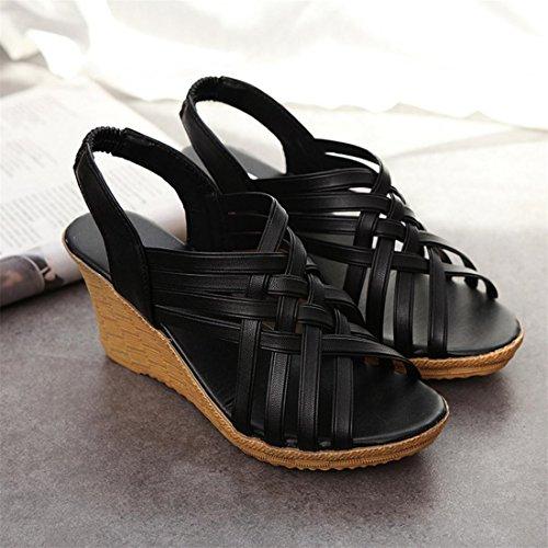 Malloom® Sandalen, Frauen-hohe Plattformen Zuschnitte Muster Checkered Gürtel Sandale Schuhe Schwarz