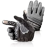 LYCAON Cycling Gloves, Silicone Gel, EVA Padding Cushion, Lycra Mesh, Ottoman Fabric, Touch Screen, Skid Resistance, Riding Bicycle Bike Full Finger (3 Size, 4 Colors) (Gris, XL)