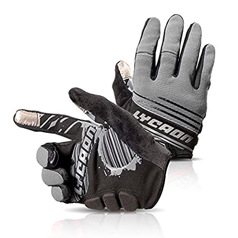 LYCAON Cycling Gloves, Silicone Gel, EVA Padding Cushion, Lycra Mesh, Ottoman Fabric, Touch Screen, Skid Resistance, Riding Bicycle Bike Full Finger Mitten Gel Padded Glove for Mountain Road Bike MTB BMX Cruiser Outdoor Sports Men Women (3 Size, 4 Colors) (Gris, L)