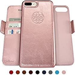 Dreem Fibonacci 2-in-1 Wallet-Case for iPhone 7-Plus & 8-Plus, Wireless Charging, Magnetic Detachable TPU Slim-Case, Luxury Vegan Leather, RFID Protection, Smart 2-Way Stand, Gift-Box - Rose-Gold