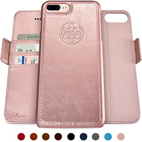 Dreem Fibonacci Brieftasche & Schutz-Hülle für iPhone 7/8-Plus, magnetisches herausnehmbare TPU Case, dünn bruchfest, 2 Standfunktionen, hochwertige synthetische Leder-Tasche, RFID Schutz - Rosé-Gold