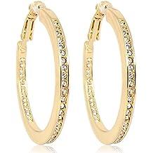 Cristales de Swarovski Pendientes de aro con–colour oro crystal–caso