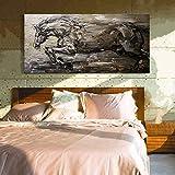 Gbwzz Handgemaltes Modernes Messer Tier Ölgemälde auf Leinwand Große Abstrakte Pferd Bilder Home Wandmalerei Kunst Ölgemälde,60x120cm