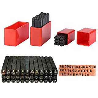 Heavy Duty Alphabet Buchstaben Anzahl Punch Tool Set, Walfront Kohlenstoffstahl Pin Punch Set Metall Stempel Handwerk Tool Kit mit Fall