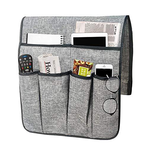 PRETTYLE Sofa Armlehne Organizer Couch Stuhl TV Fernbedienung Halterung Bett Storage Tasche für Handy Tablet Notizblock Buch Zeitschriften DVD, Snacks Halter Tasche (Grau)