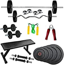 BodyKare & Company Flat Bench(Rectangle Shape)+70 kg Weight Plates (PVC) + 3Ft curl Rod + 5ft Straight Rod with Locks + Pair of Dumble rods (Free Hand Grip, Skipping Rope)