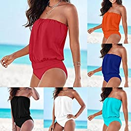 Runyue Donna Costumi da Bagno Intero Elegante Bodysuit Tinta Unita Vita Alta Pantaloni Costume Intero Beachwear