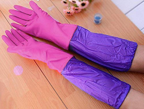 NIVERA - Trust That Make Us Best Rubber Latex Household Long Sleeves Safety Kitchen Gloves (Pink, Free Size)