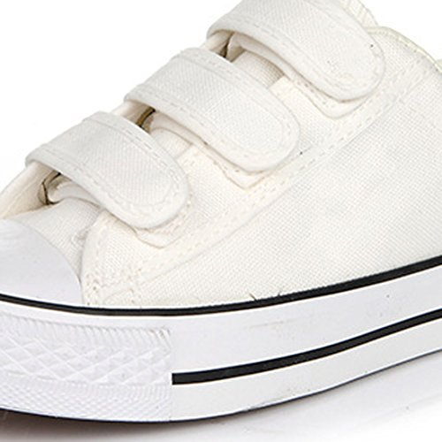 Azbro Stylish Canvas Round Toe Flatform Velcro Sneakers For Woman White