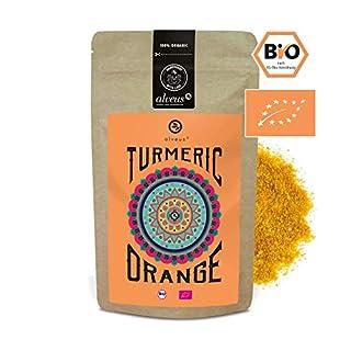 alveus® Tumeric Orange: Orange Vanilla Taste. Ingredients: Turmeric Powdered*, Coconut Blossom Sugar*, Natural flavouring, Ginger Powdered*, Orange Powder* (1%), Vanilla*. *Certified Organic