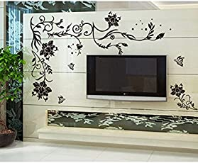 Decals Design 'Butterflies Corner' Wall Sticker (PVC Vinyl, 90 cm x 60 cm, Multicolour)