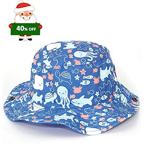 iisport Jungen Sonnenhut Kinderhut mit Meerestier-Muster, UPF 50+/ Kopfumfang 46-52CM