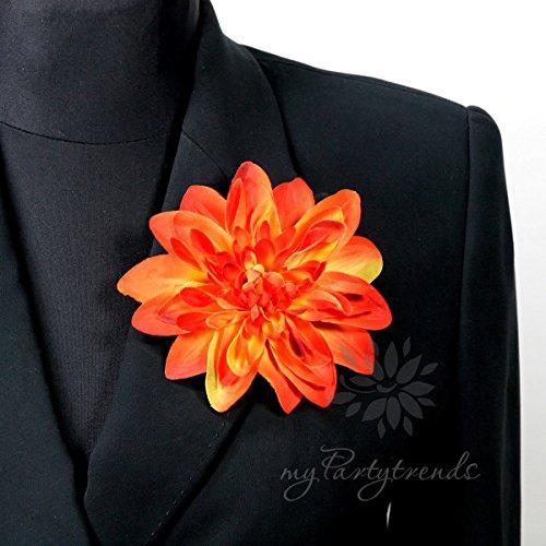 arblume in orange. Ansteckblume Dahlie (Ø 12 cm; Höhe 2,5 cm) von myPartytrends. (Reversblume, Haarschmuck, Seidenblume) ()