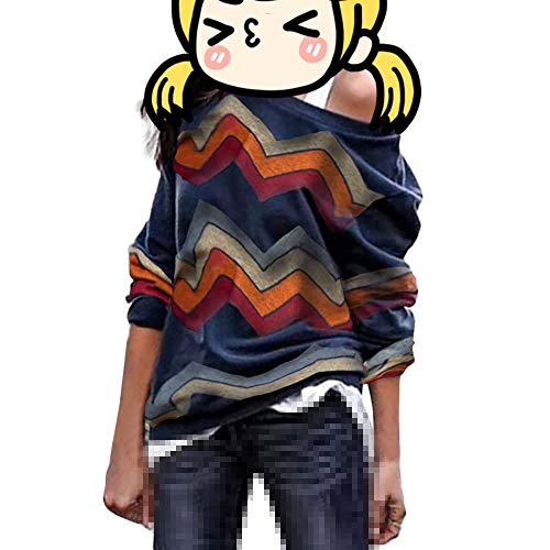 MEIbax Damen O Hals Langarm gestreiftes Sweatshirt Farbe Pullover Lose Tops Shirt - Tweed Wolle Strickjacke