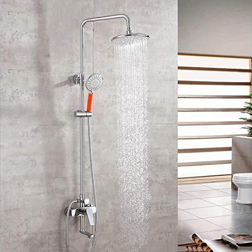 Duschset Moderne galvanische Kupfer 8-Zoll-Bad-Top-Spray + Handbrause + Mischwasserhahn Dusche