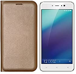 Gionee A1 Lite Flip Cover Golden One Side Pocket Superior Finish Four Corner Full Protection Best Quality Hard & Shiny Flip Case cover High Quality Flip Cover PU leather Water Proof Perfect Fit by Marshland