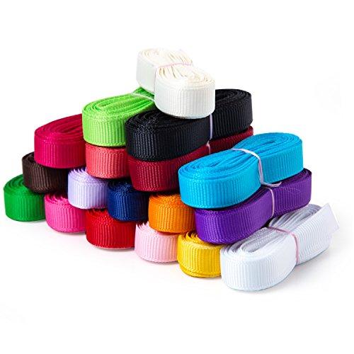HABI Grosgrain mehrfarbig Bändern Geschenk Bänder 40 Meter DIY 18 Farben und verschiedene Breite . Jede Farbe Set ca 3 Meter