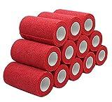 Haftbandagen - 12 Rollen 10 cm x 4,5 m, rot, selbstklebende Bandage, elastische Bandage