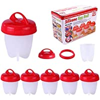 SIMUER 6 Pack Silicone Egg Boil, Egg Poacher Egg Cooker Hard & Soft Maker No Shell Non Stick Poacher Boiled Steamer 6 Egg Cups Egg Tools AS SEEN ON TV