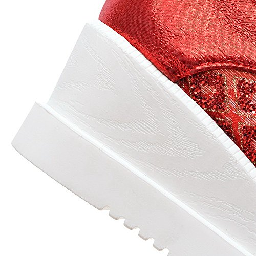 AllhqFashion Damen Lackleder Schnüren Quadratisch Zehe Mittler Absatz Rein Pumps Schuhe Rot