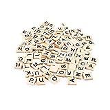 CTGVH Holzbuchstabe Scrabble, 100pcs Schwarze Buchstaben und Zahlen Holz Englisches Wort für Handwerk Handbuch Lernspielzeug