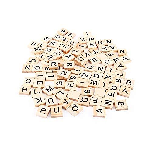 TONVER 100pcs Alphabet Scrabble Tiles Números Negros de Madera Letras de Palabras en inglés para niños