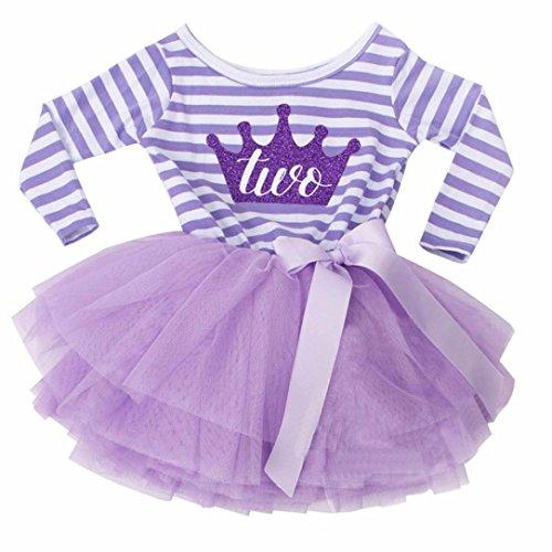 d Baby Baumwollmischung O-Ausschnitt Knie Länge Gestreift Nummer Drucken Geburtstag Netzgarn Lange Ärmel TuTu (Lila, 2 Jahre alt) (1 Jahr Alt Geburtstag Ideen)